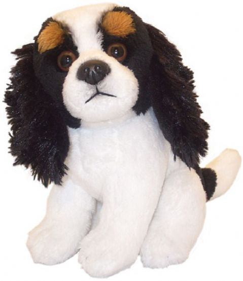 "King Charles Spaniel Tri- Colour puppy dog sitting Cuddly 6.5"" pocket toy"